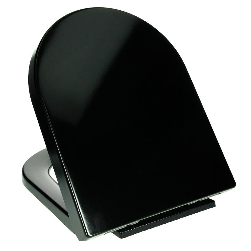 abattant wc siege toilette noir couvercle lunette assise materiel de fixations ebay. Black Bedroom Furniture Sets. Home Design Ideas