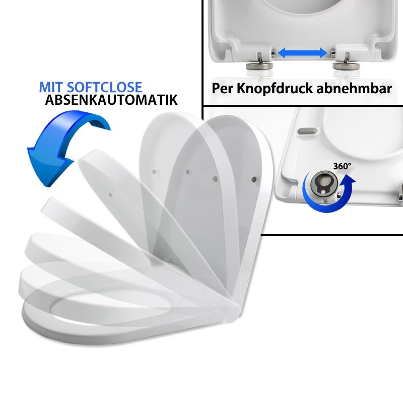 Abattant wc siege de toilette universel standard cuvette slow close lunettes - Abattant wc taille non standard ...
