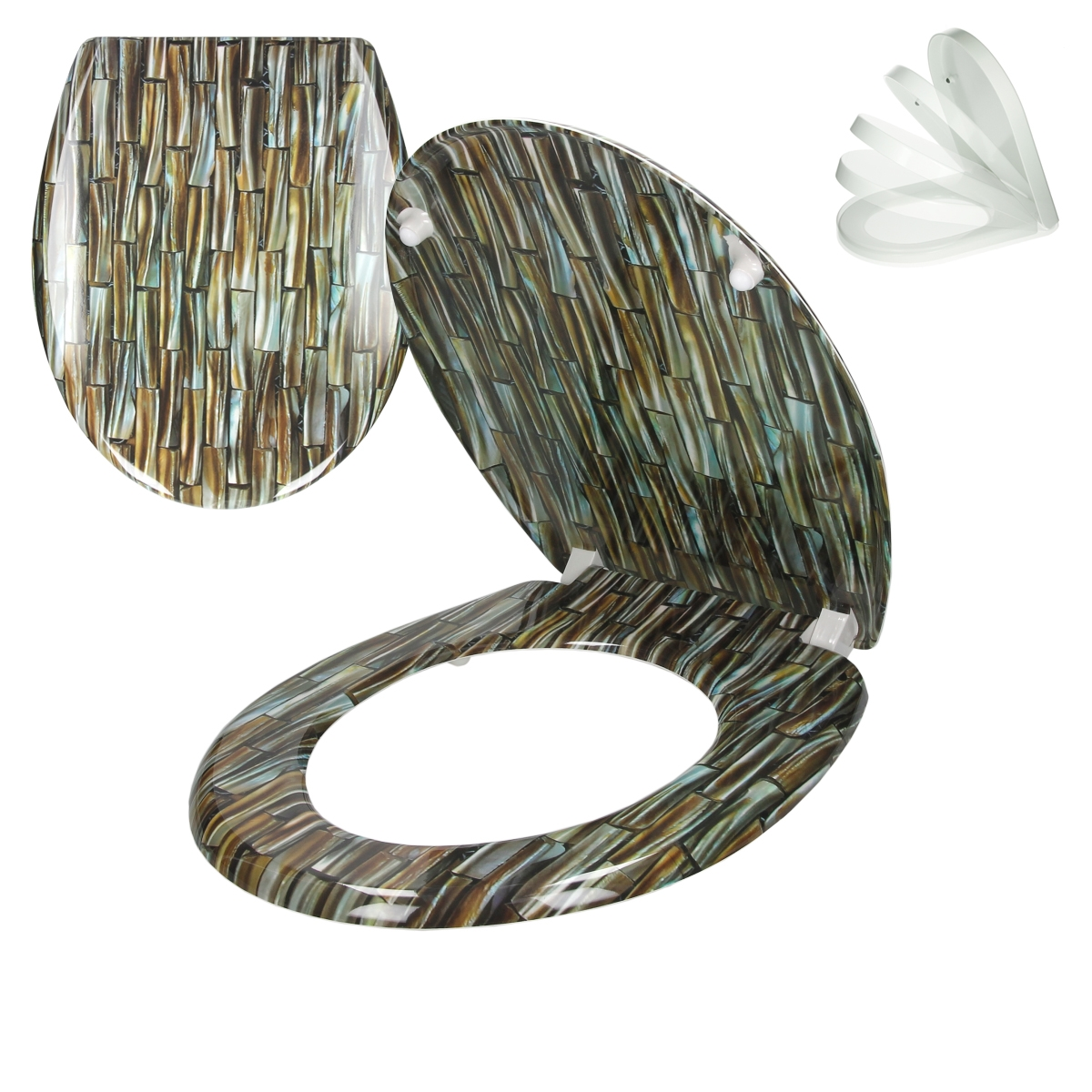 wc sitz toilettendeckel klodeckel deckel toilettensitz bad mit absenkautomatik ebay. Black Bedroom Furniture Sets. Home Design Ideas