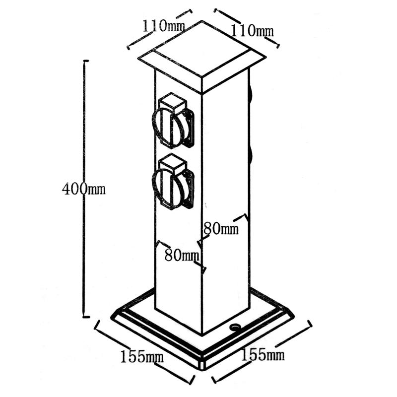 Bloc avec 4 prises de courant borne electrique exterieur - Borne prise electrique exterieur ...