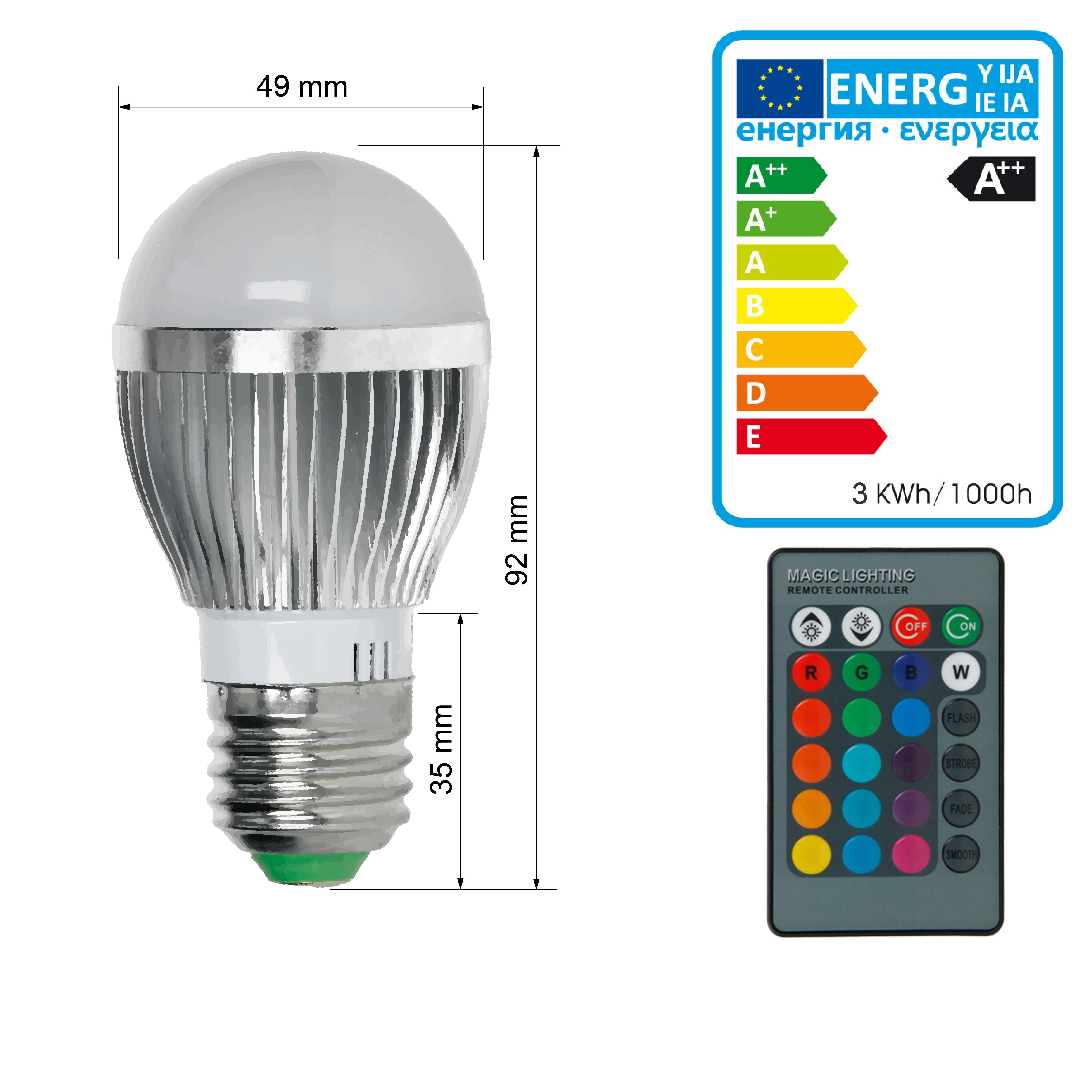e14 e27 3w 5w 9w rgb bunte led birne farbwechsel ir fernbedienung lampe licht ebay. Black Bedroom Furniture Sets. Home Design Ideas