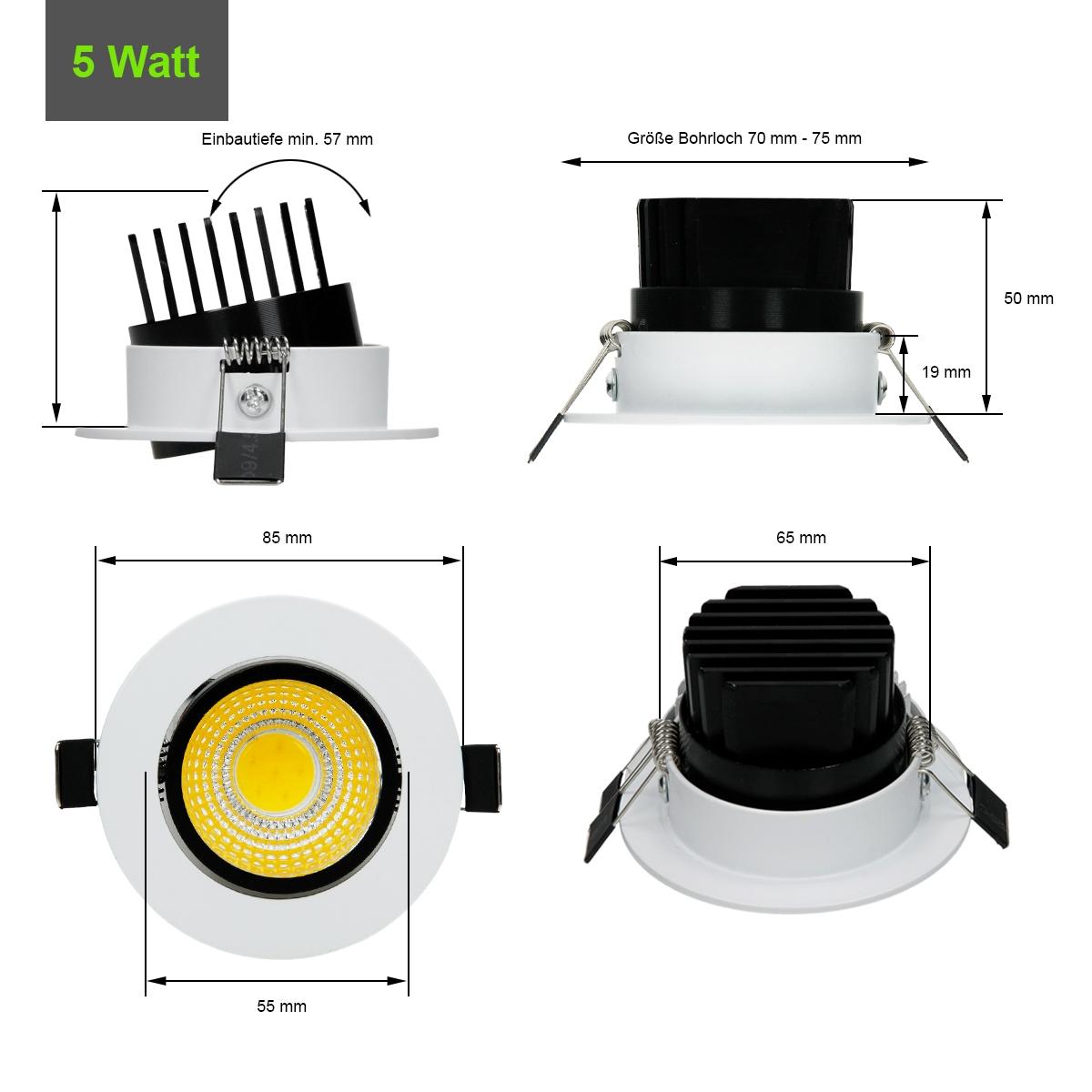 3w 5w 7w 9w 12w led cob einbaustrahler einbauleuchte einbau strahler deckenlampe ebay. Black Bedroom Furniture Sets. Home Design Ideas