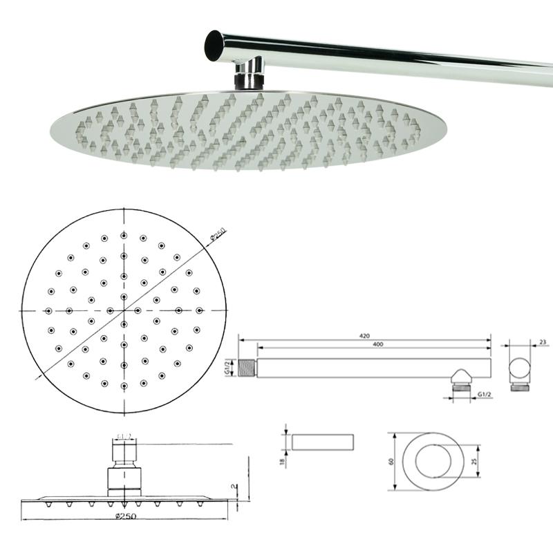 pomme pommeau tete de douche a effet pluie acier inox salle de bain rond carree ebay. Black Bedroom Furniture Sets. Home Design Ideas