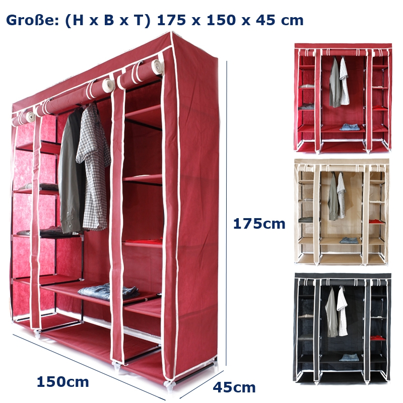 armoire rangement penderie etagere vetements en tissu l xl xxl rouge beige noir ebay. Black Bedroom Furniture Sets. Home Design Ideas