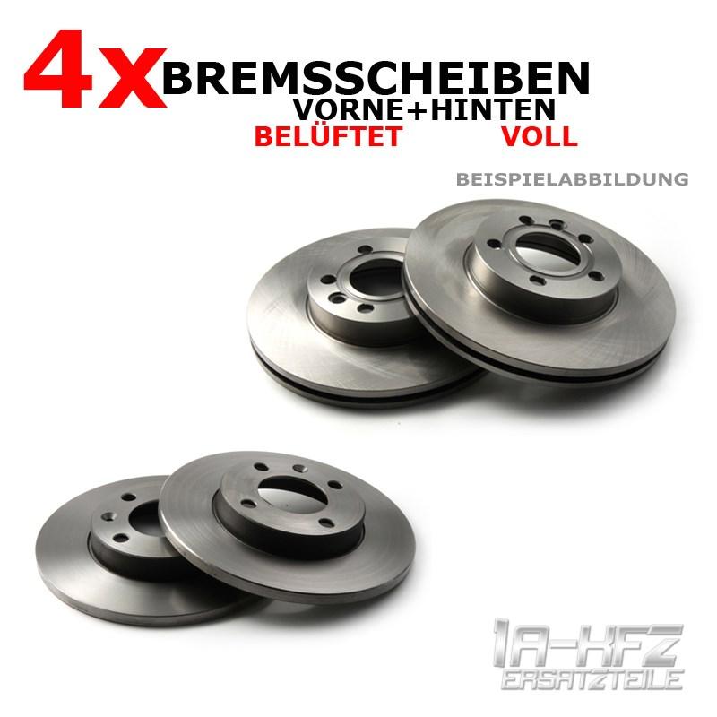 4-x-Bremsscheibe-Bremsscheiben-vorne-hinten-Satz-Set-Werkstattqualitaet