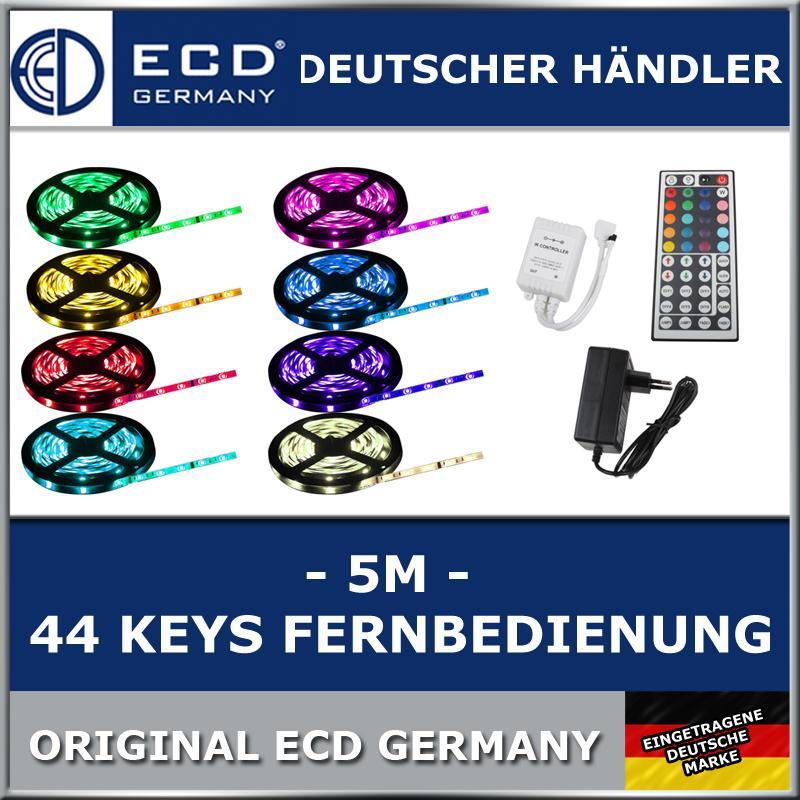 500cm-5m-LED-SMD-STRIP-LEISTE-RGB-5050-FERNBEDIENUNG-NETZTEIL-ECD-Germany