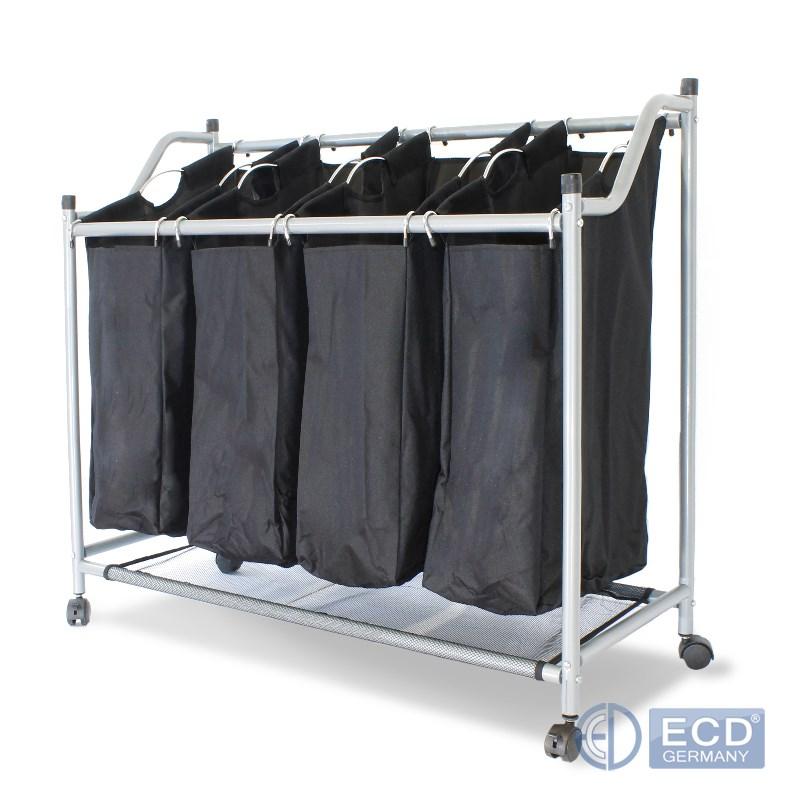 chariot organisateur a linge cadre metal avec 4 sacs panier noir sur 4 roulettes ebay. Black Bedroom Furniture Sets. Home Design Ideas