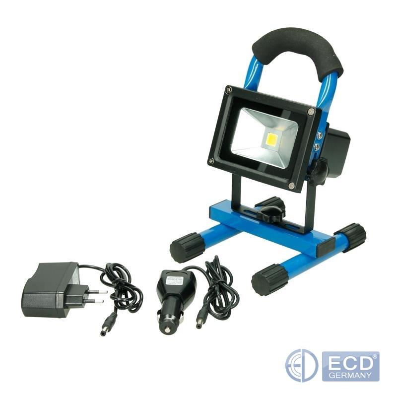 rechargeable lampe travail chantier reflecteur projecteur led 10w 20w jaune bleu ebay. Black Bedroom Furniture Sets. Home Design Ideas