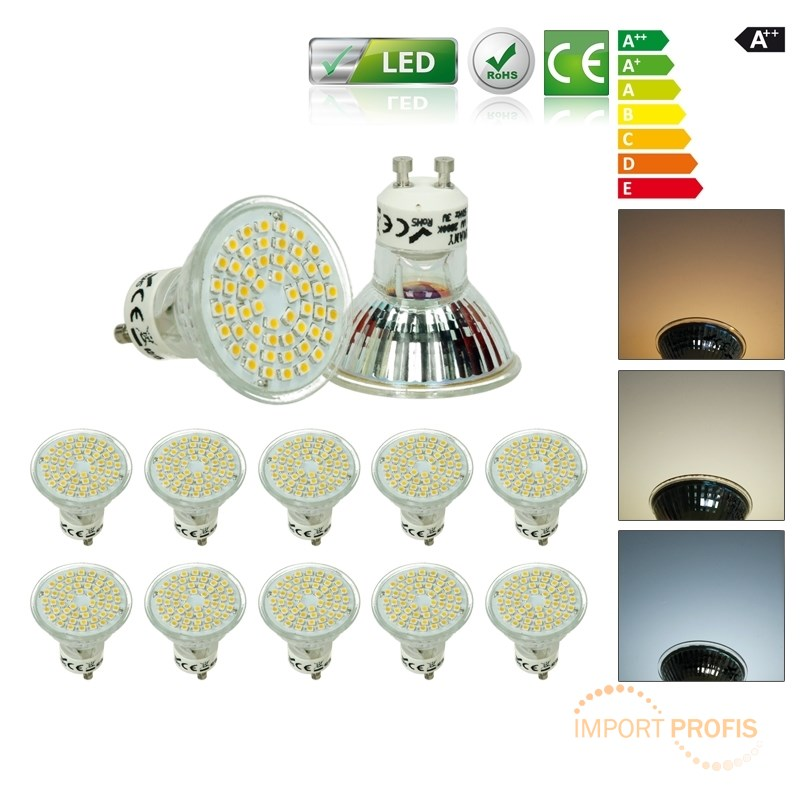 10x led gu10 mr16 led 3w 54smd warmwei kaltwei lampe. Black Bedroom Furniture Sets. Home Design Ideas