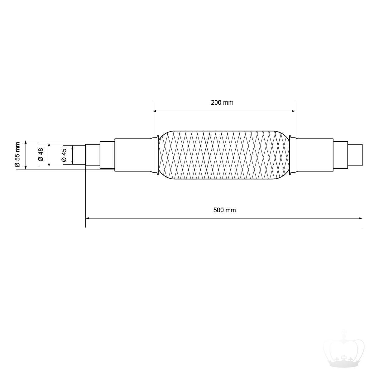 Für Suzuki Uni Flexrohr Flexstück Flammrohr Hosenrohr Auspuff 45x200 310MM
