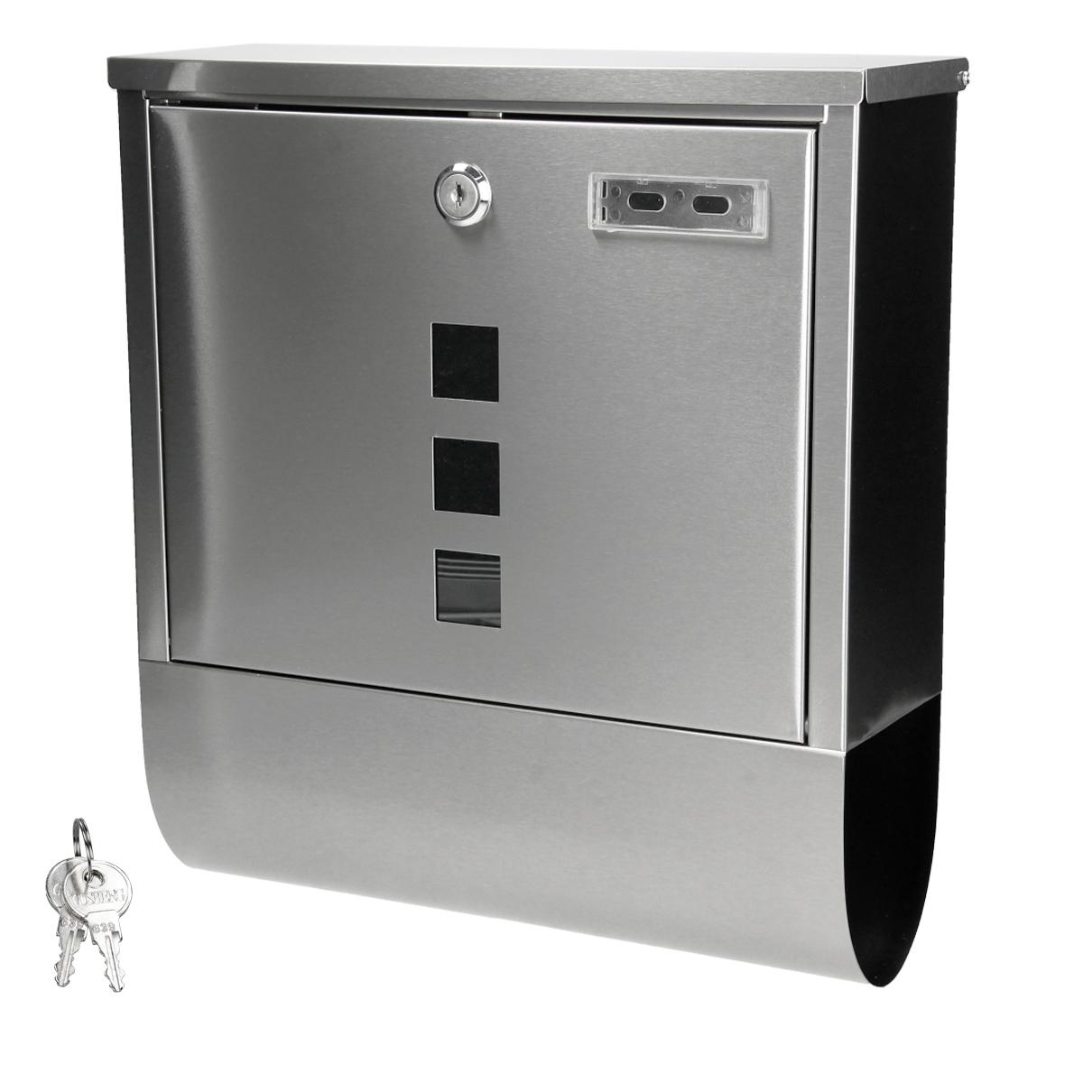 briefkasten wandbriefkasten edelstahl postkasten zeitungsfach und zeitungsrolle ebay. Black Bedroom Furniture Sets. Home Design Ideas