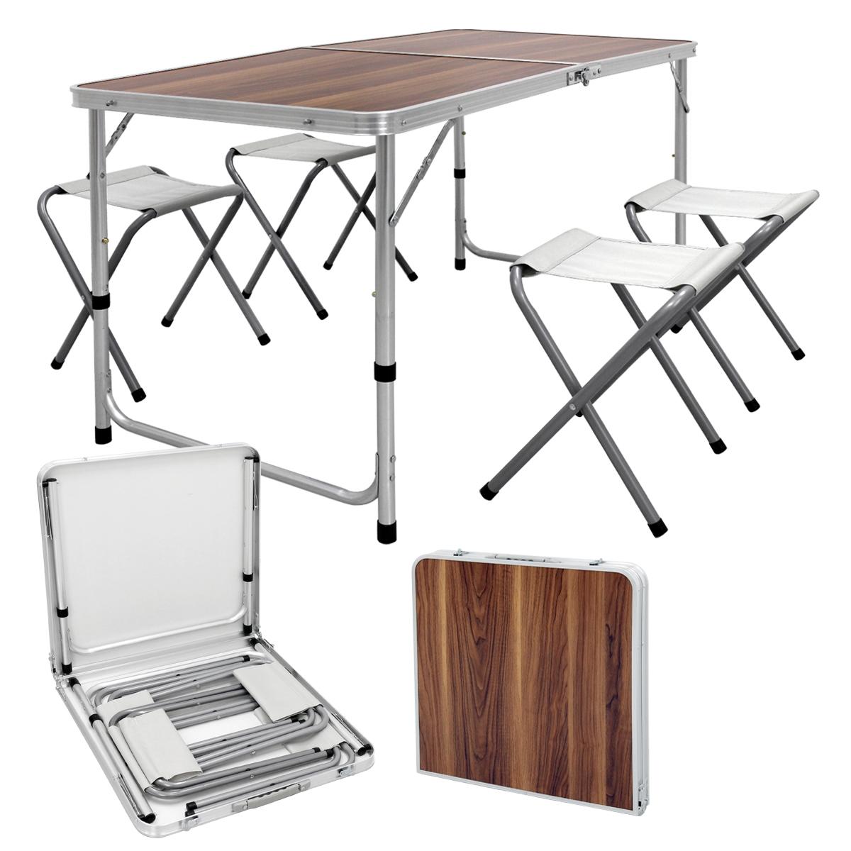 Détails sur Table pliable camping ajustable tabourets jardin aluminium  120cm décor bois brun