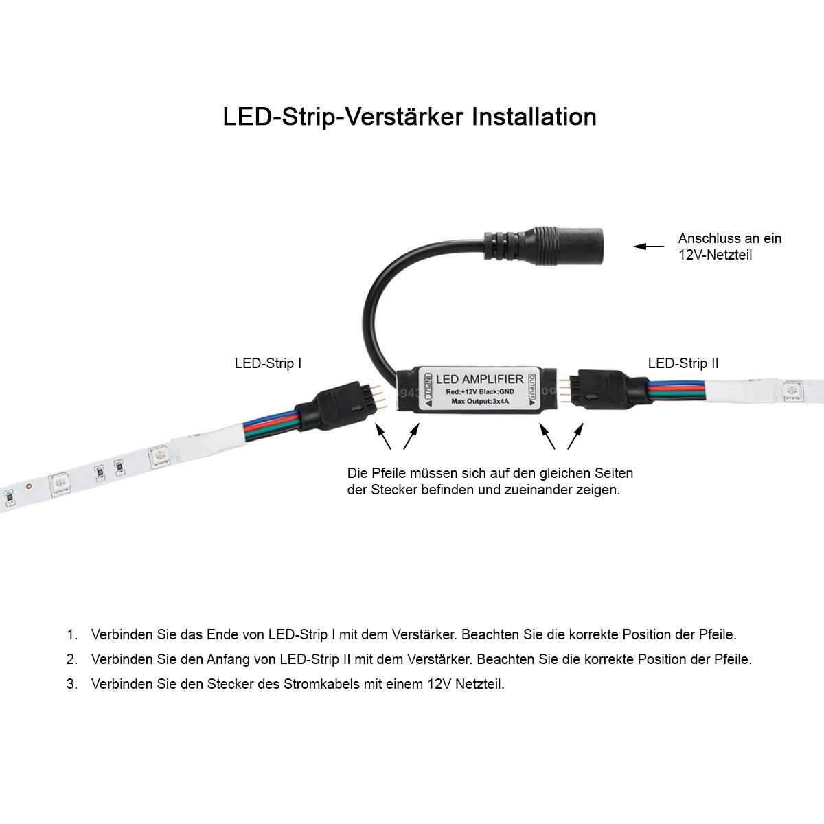 Rgb Led Strip Streifen 12v Netzteil Verbinder Verstarker Controller