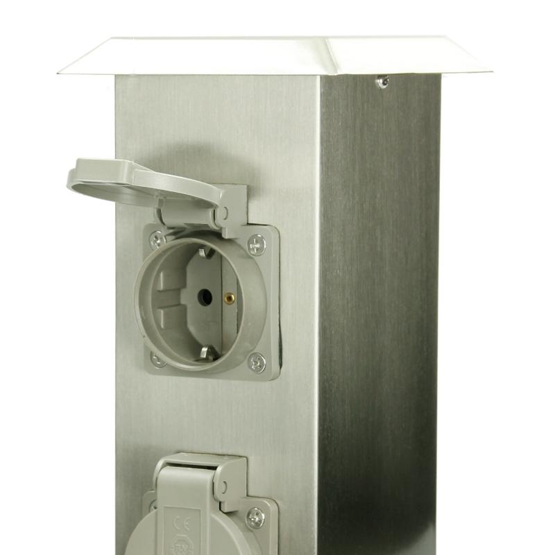 gartensteckdose au ensteckdose steinsteckdose spritzwasserfest edelstahl 4 fach ebay. Black Bedroom Furniture Sets. Home Design Ideas