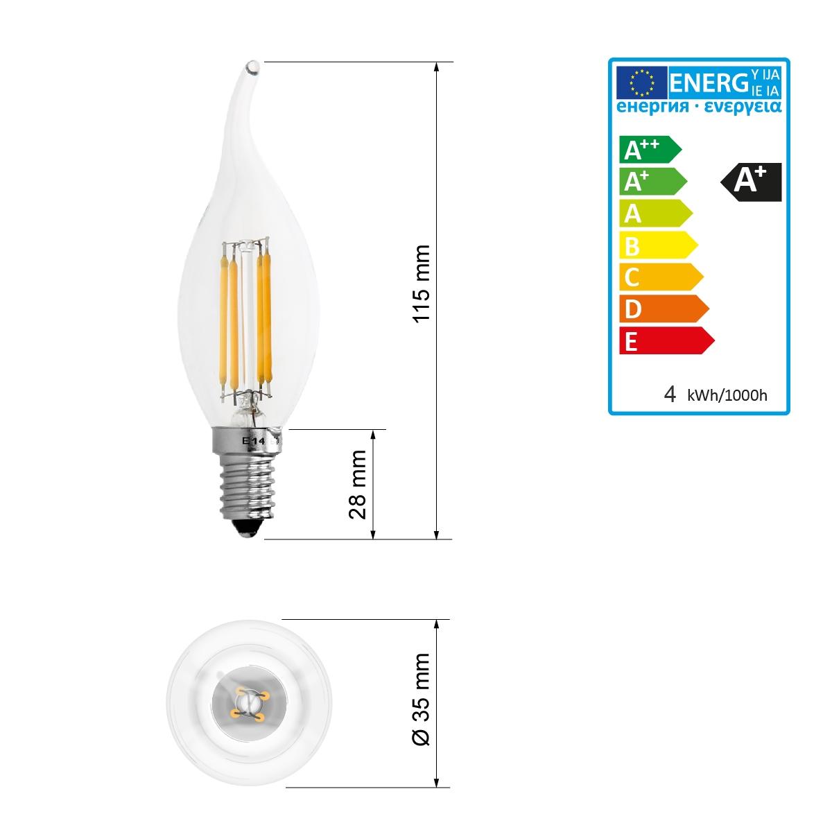 e14 led filament gl hbirne lampe kerze leuchtmittel vintage birne warmwei 2w 6w ebay. Black Bedroom Furniture Sets. Home Design Ideas