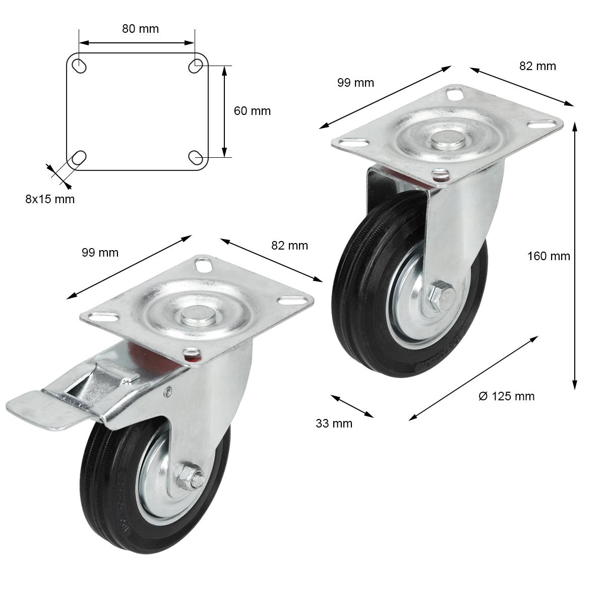 4 x Vollgummi Lenkrolle Transportrolle Schwerlastrolle Rolle Ø 125 mm Bock-Brems