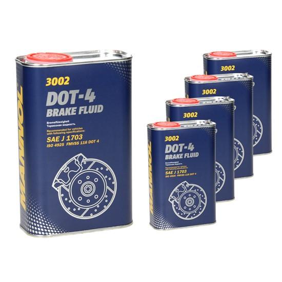 5xMannol Bremsflüssigkeit DOT-4 1 L