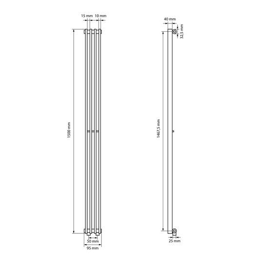 "Design-Heizkörper ""Tilbrook"" gerade mit Mittelanschluss Weiß 95 x 1500 mm"