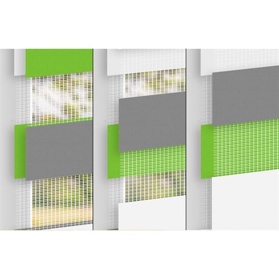 Doppelrollo 90x230 cm Grün Grau Weiß ohne Bohren mit Klemmträgern