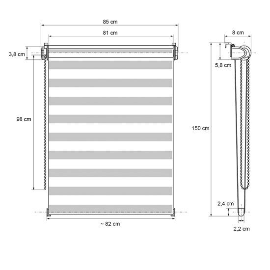 Doppelrollo 85x150 cm Weiß Beige Braun Klemmfix ohne Bohren mit Klemmträgern