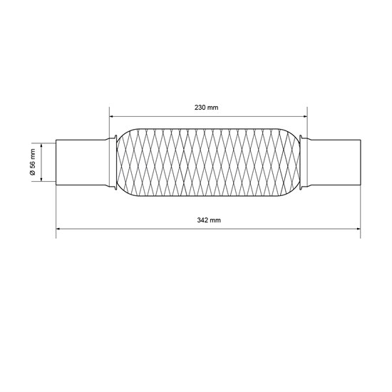 Universal Flexrohr, 55 x 230 mm, mit 2 Schellen aus Edelstahl