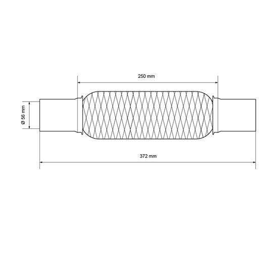 Universal Flexrohr, 55 x 250 mm, aus Edelstahl, mit 2 Schellen und Montagepaste