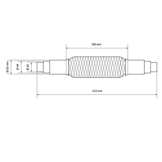 Universal Flexrohr, 45/48/55 x 100 mm, aus Edelstahl