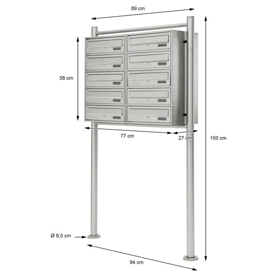 Briefkastenanlage mit Standfuß, silber, 89x150x27 cm, aus Edelstahl