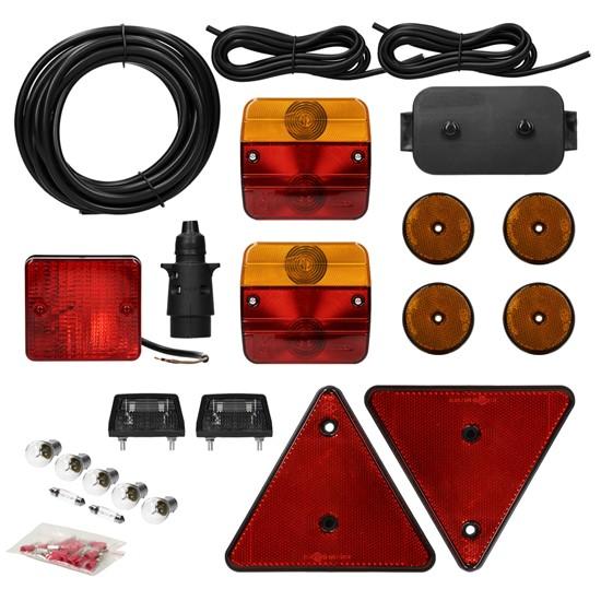 Anhängerbeleuchtung Set 23 teilig 7-poliger Stecker inkl. Glühbirnen und Verteilerdose