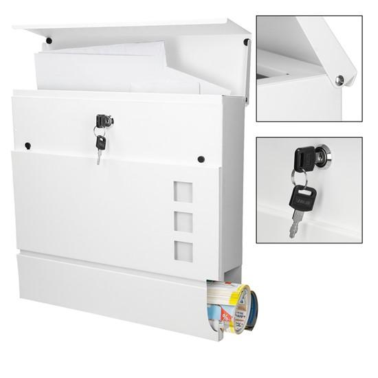 Briefkasten mit Zeitungsfach 37x10,5x36,5cm pulverbeschichteter Stahl Weiß