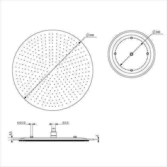 Duschkopf Ultraslim rund, Ø 50 cm, aus Edelstahl