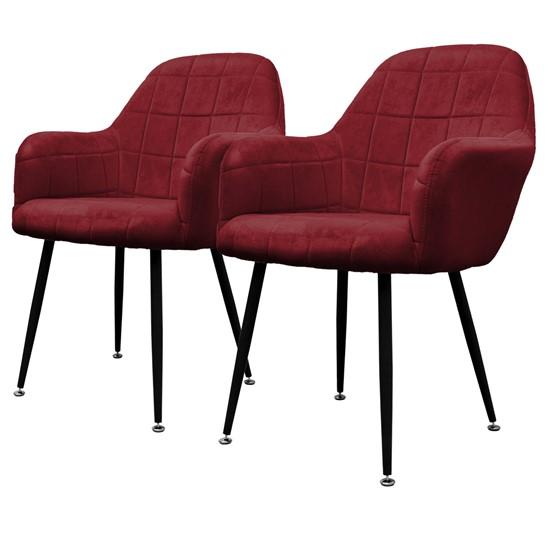 2er Set Esszimmerstuhl, Bordeaux, mit Rücken- und Armlehnen