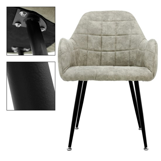 2er Set Esszimmerstuhl, Grau Beige, mit Rücken- und Armlehnen