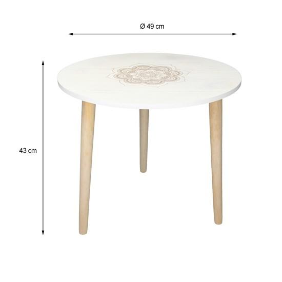 Beistelltisch rund Ø 49 cm weiß/natur aus Kiefernholz und MDF