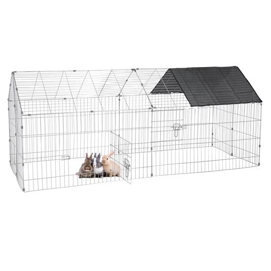 Freilaufgehege für Kleintiere mit Sonnenschutz, 74x180x75 cm, aus Metall verzinkt