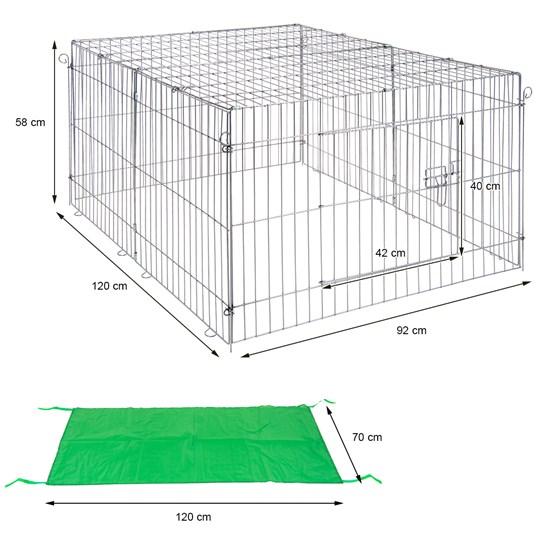 Freilaufgehege für Kleintiere mit Sonnenschutz, 120x58x92 cm, aus Metall verzinkt