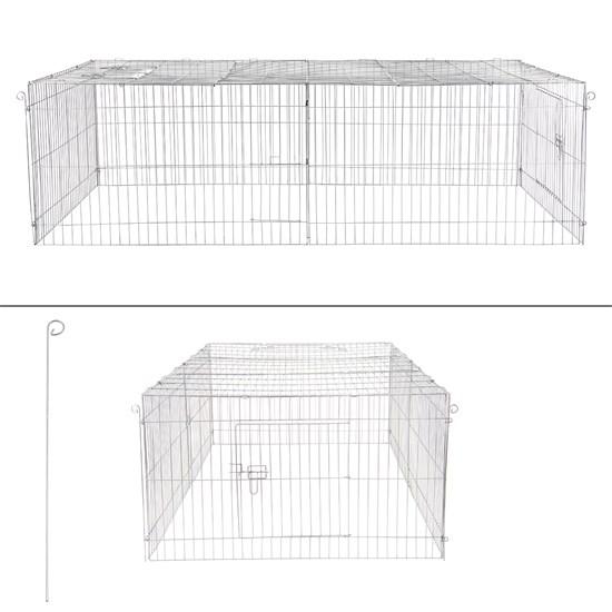 Freilaufgehege für Kleintiere mit Sonnenschutz, 212x64x113 cm, aus Metall verzinkt