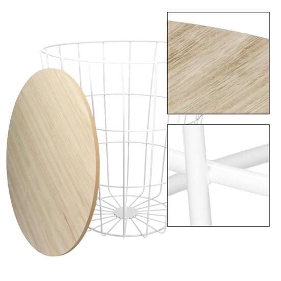 Beistelltisch runde Ø 38,5 x 42 cm, mit abnehmbarer MDF-Holzplatte und Metallkorb