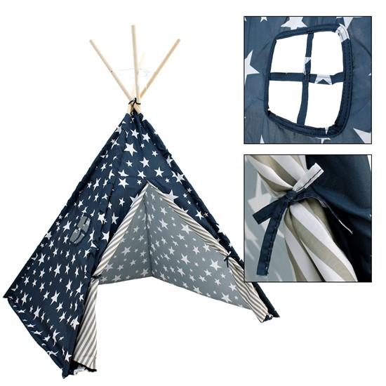 Indianer Tipi Spielzelt für Kinder, Blau mit Sterne, mit Fenster