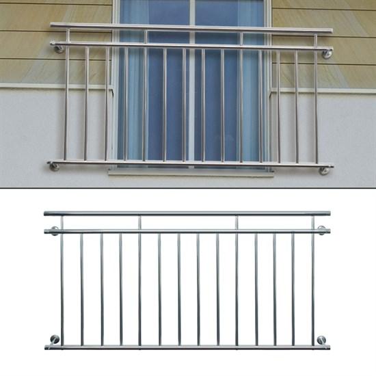 Französischer Balkon 90 x 100 cm, mit 7 Füllstäben, glänzend, aus Edelstahl