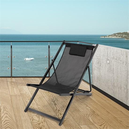 Liegestuhl schwarz, 61x91x101 cm, aus Aluminium und Polyester