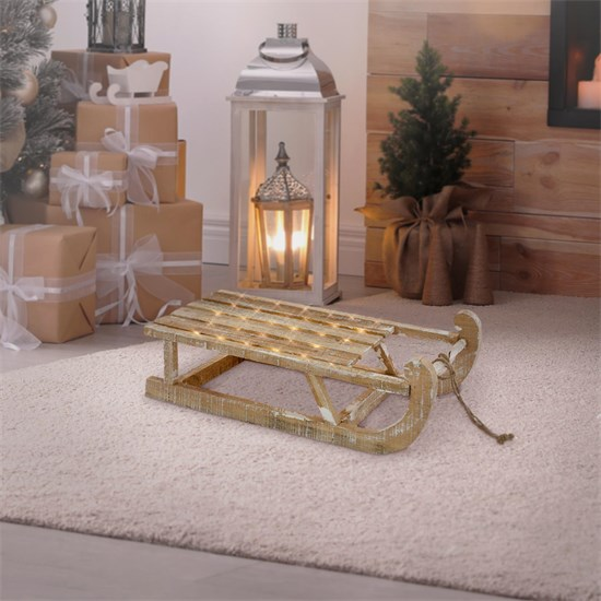 Weihnachtsdeko Schlitten 50,5x13,5x23,5 cm braun aus Holz mit LED