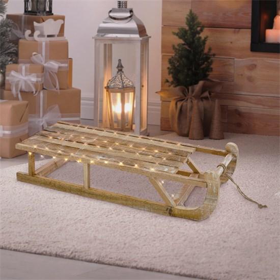 Weihnachtsdeko Schlitten 73x13,5x27,5 cm braun aus Holz mit LED