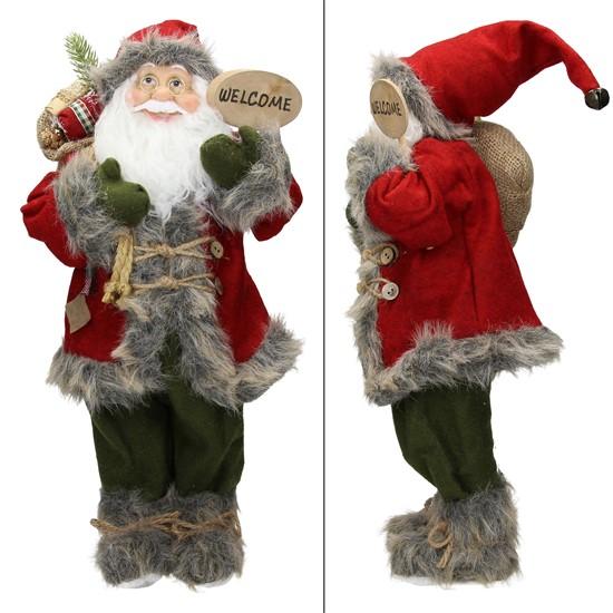 Weihnachtsmann 42x28x80 cm rot/grün aus Polyresin