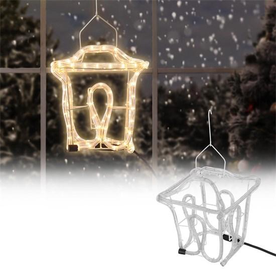 Winter-Laterne mit LED Birnen 22,5x22,5 cm warmweiß 230V