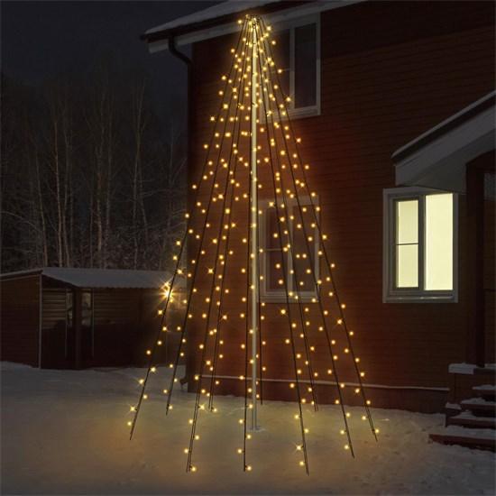 LED Lichterkette Fahnenmastbeleuchtung 8m warmweiß mit 360 LED