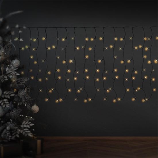 Weihnachtsdeko LED Lichtvorhang 2m schwarz 200 warmweiße LED aus PVC