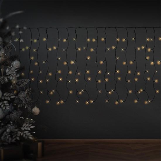Weihnachtsdeko LED Lichtvorhang 3m schwarz 400 warmweiße LED aus PVC