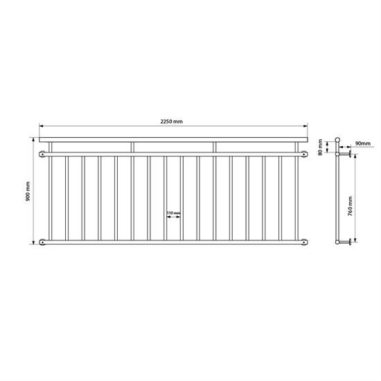 Französischer Balkon 90x225 cm, mit 16 Füllstäben, glänzend, aus Edelstahl