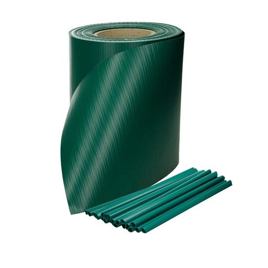 PVC Sichtschutzstreifen Rolle 65 m, grün, mit 30 Befestigungsclips